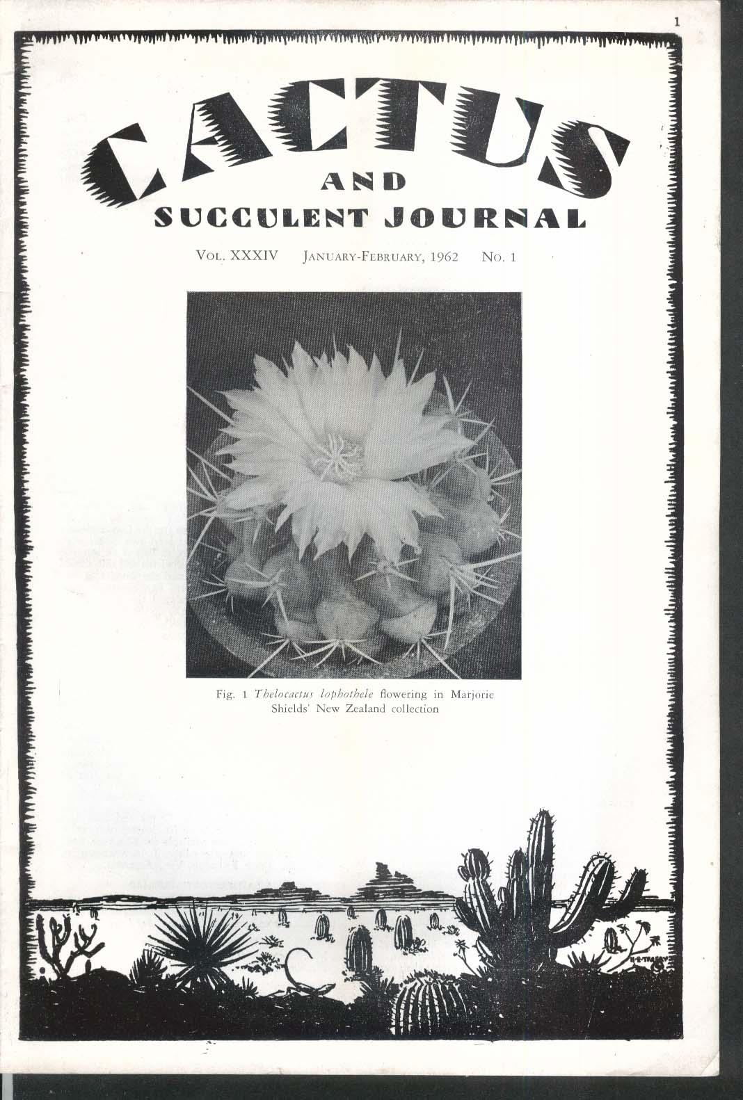CACTUS Succulent Journal Thelocactus lophothele Carl Purpus 1-2 1962