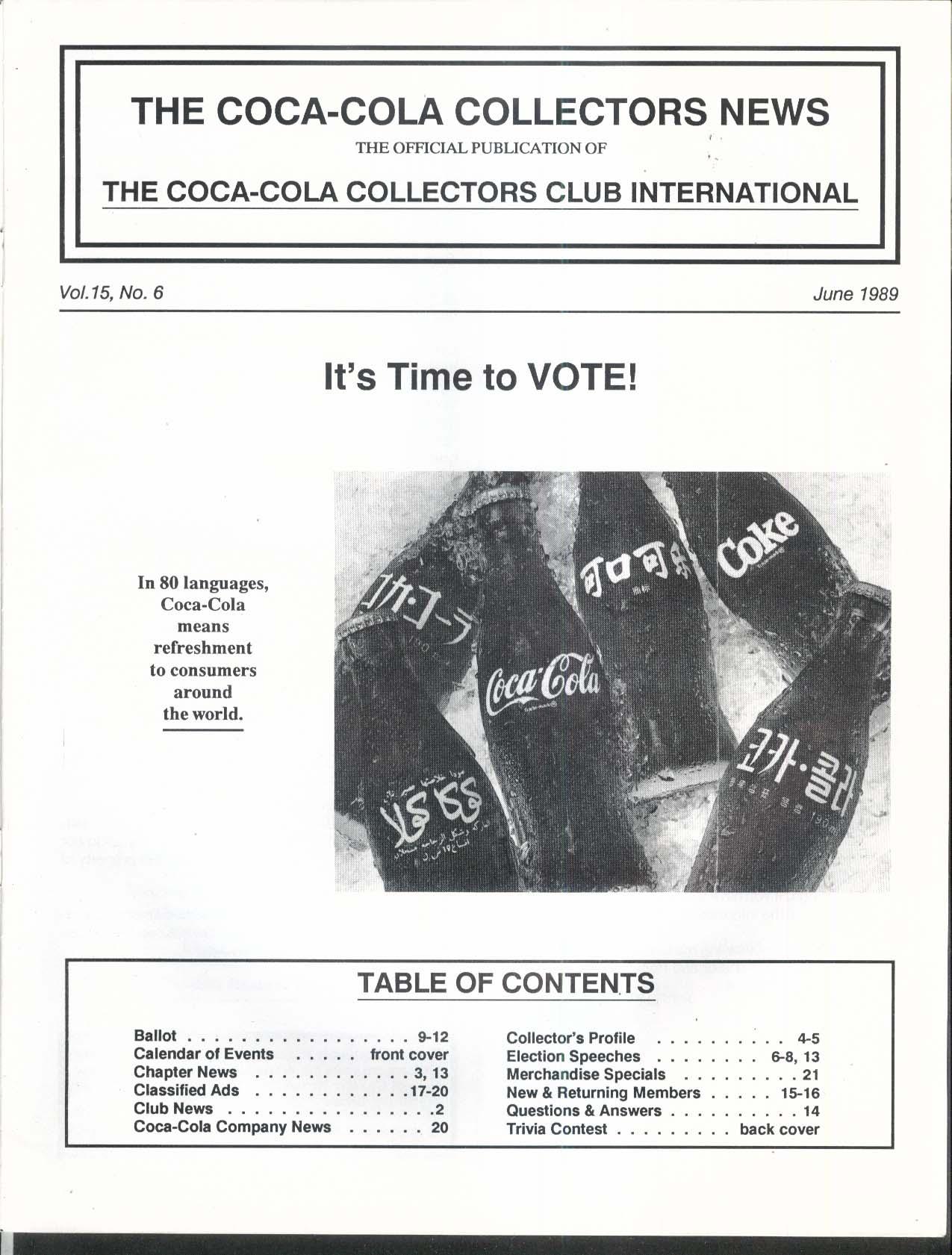 COCA-COLA Collectors News International Bottles 6 1989