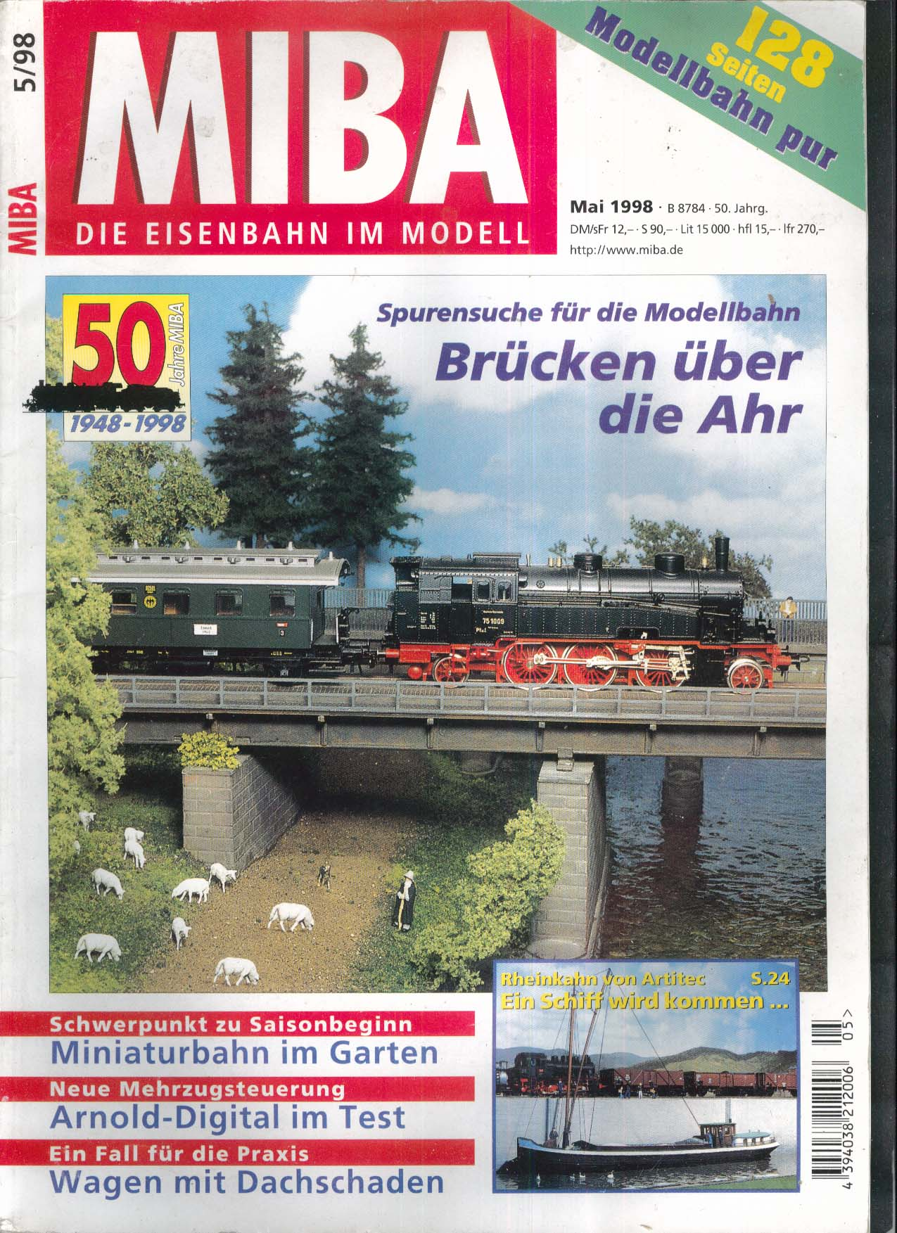 MIBA-Miniaturbahnen German-language model train magazine Brucken uber Ahr 5 1998