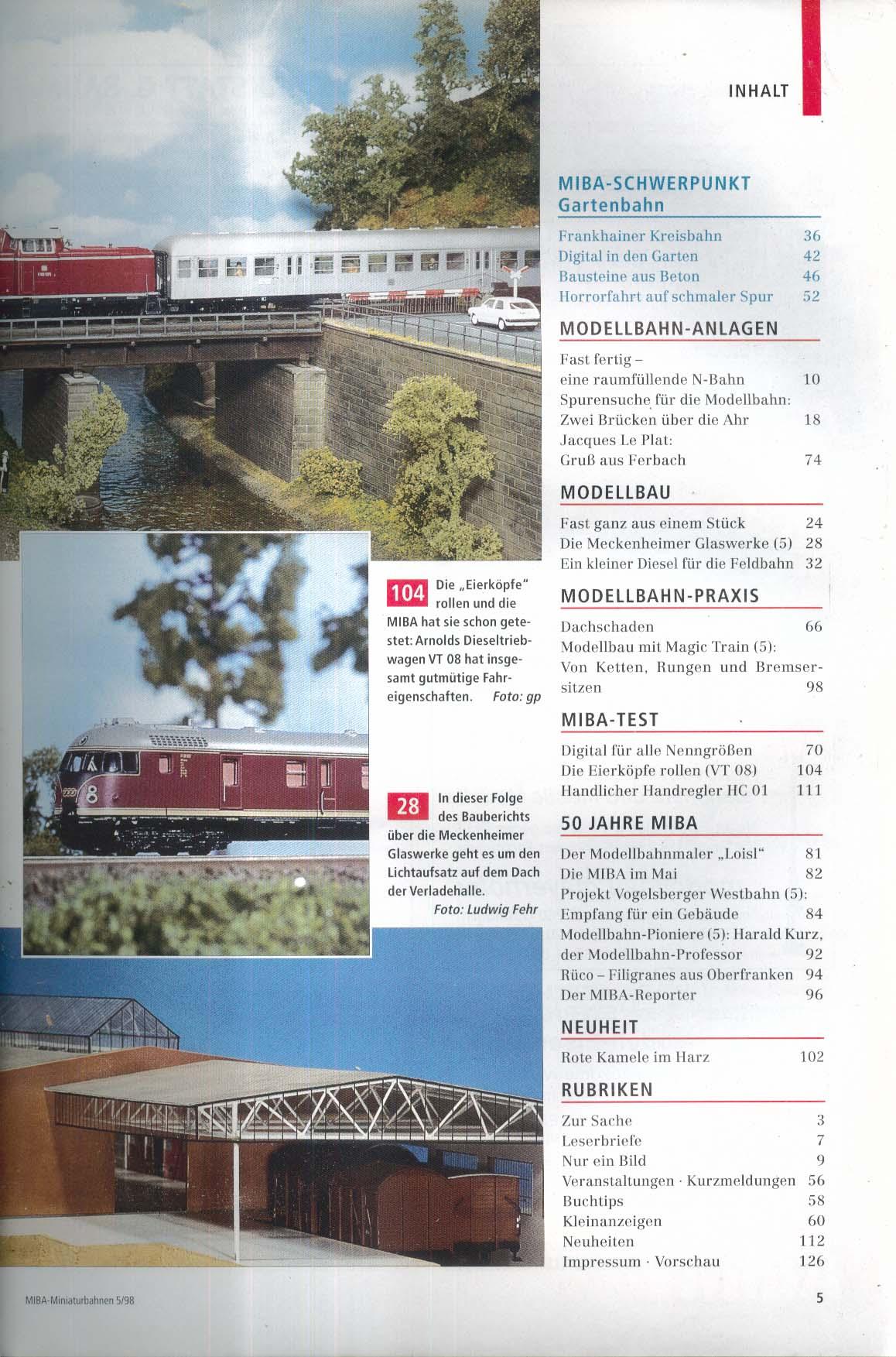 MIBA-Miniaturbahnen German-language model train magazine Brucken uber Ahr 5 1998