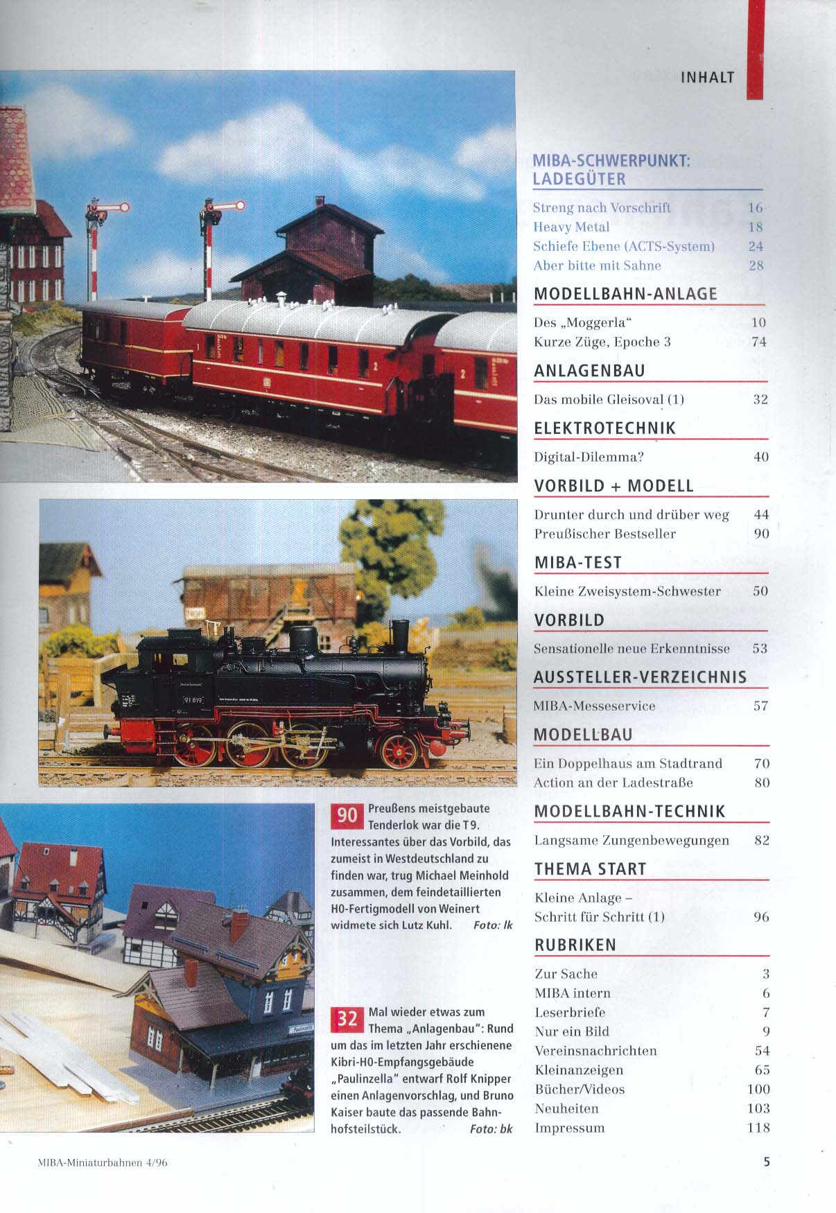 MIBA-Miniaturbahnen German-language model train magazine Allerlei Ladegut 4 1996