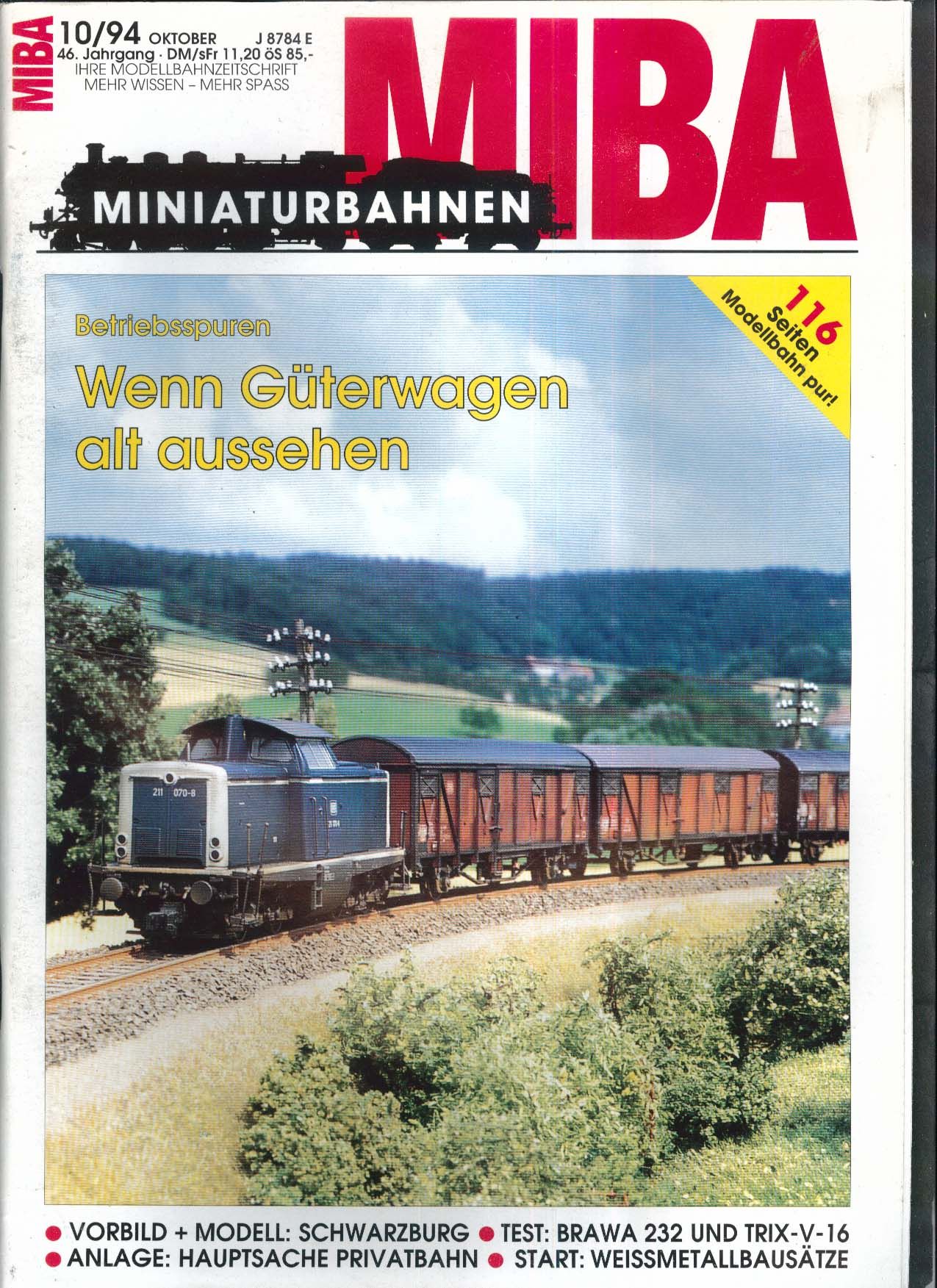 MIBA-Miniaturbahnen German-language model train magazine Vorbild Modell 10 1994