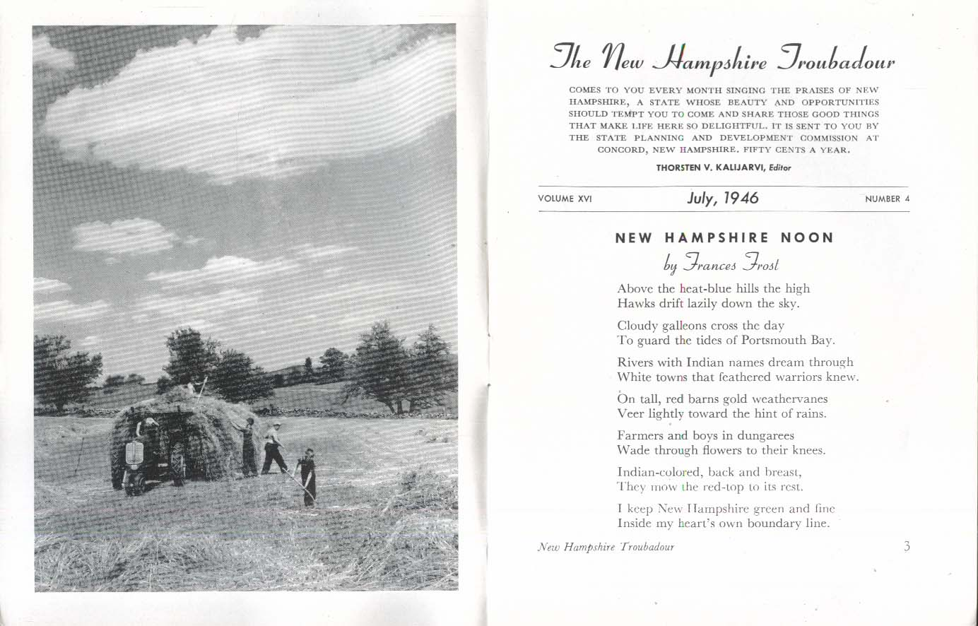 NEW HAMPSHIRE TROUBADOUR Frances Frost Pauline Soroka Chadwell 7 1946
