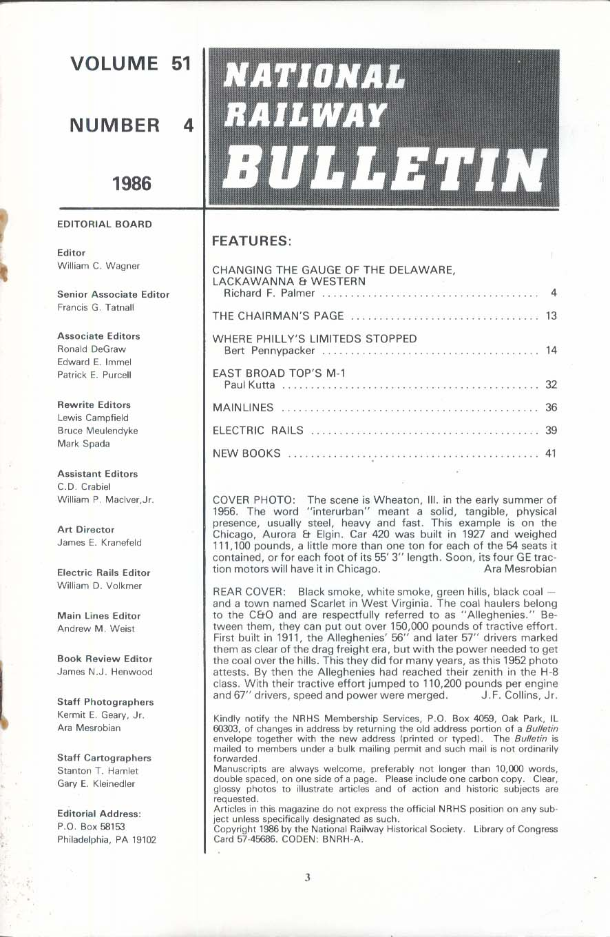 NATIONAL RAILWAY BULLETIN V51n4 Delaware Lackawanna & Western M1 1986