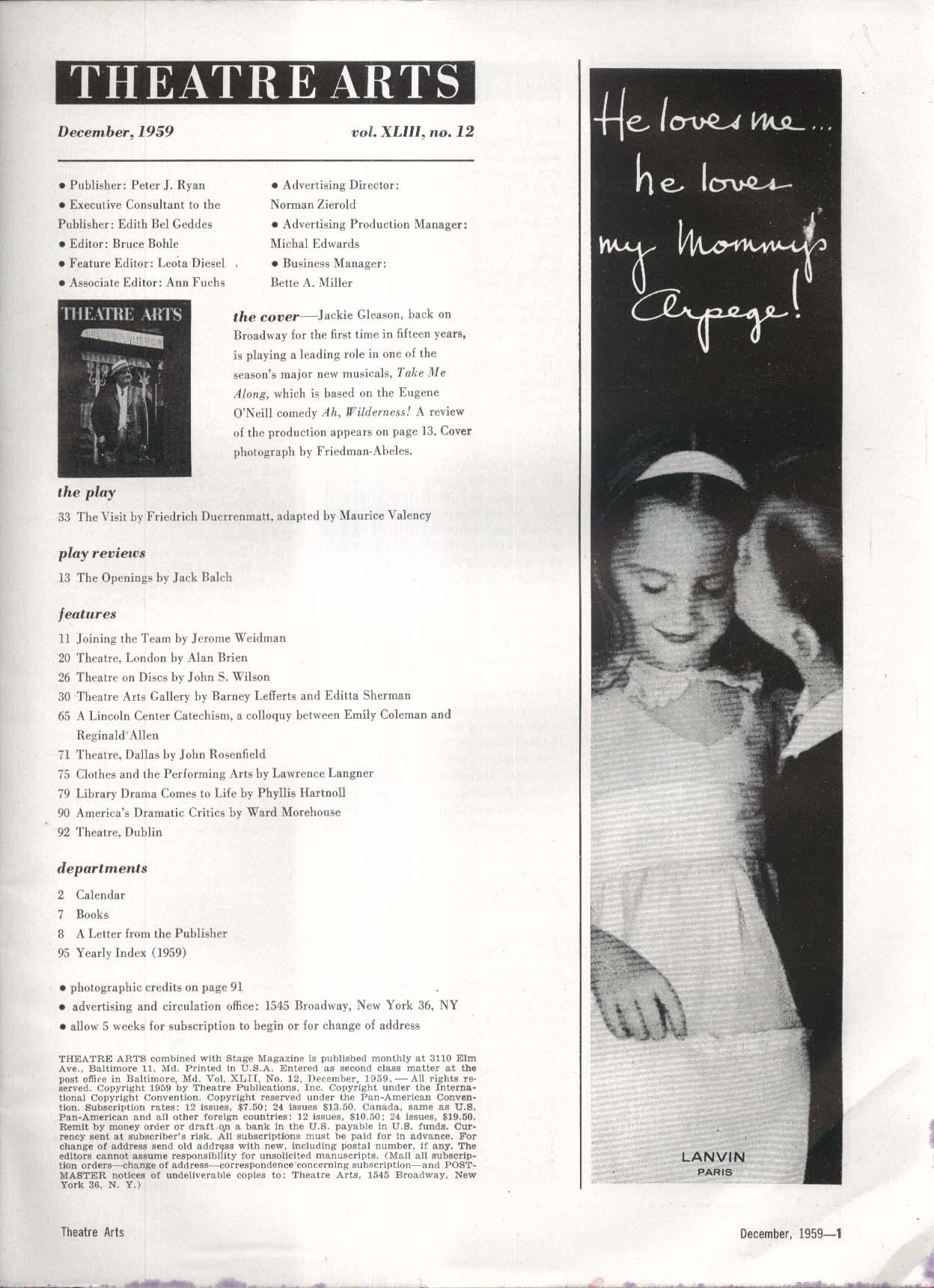THEATRE ARTS Jackie Gleason Jerome Weidman John Rosenfield + 12 1959