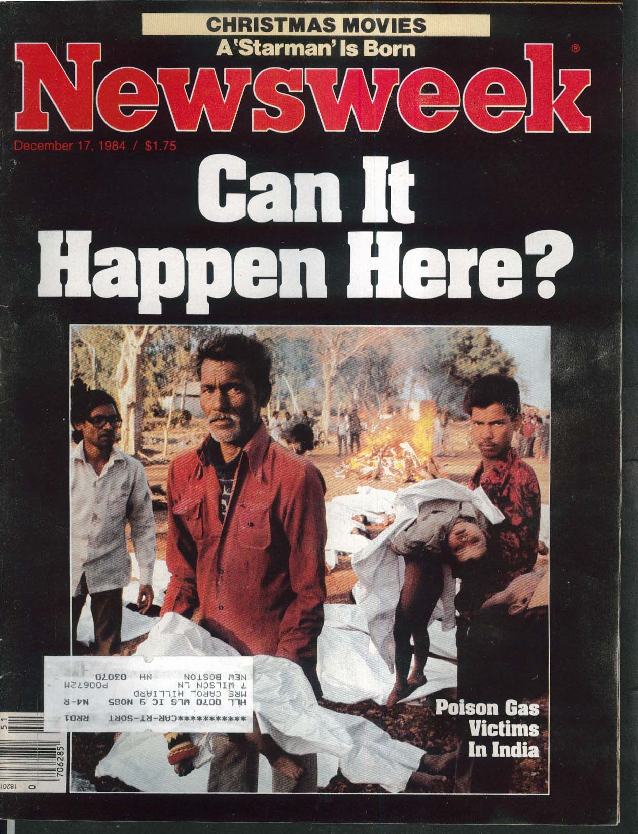 NEWSWEEK India Poison Gas Starman Dame Peggy Ashcroft Apartheid 12/17 1984