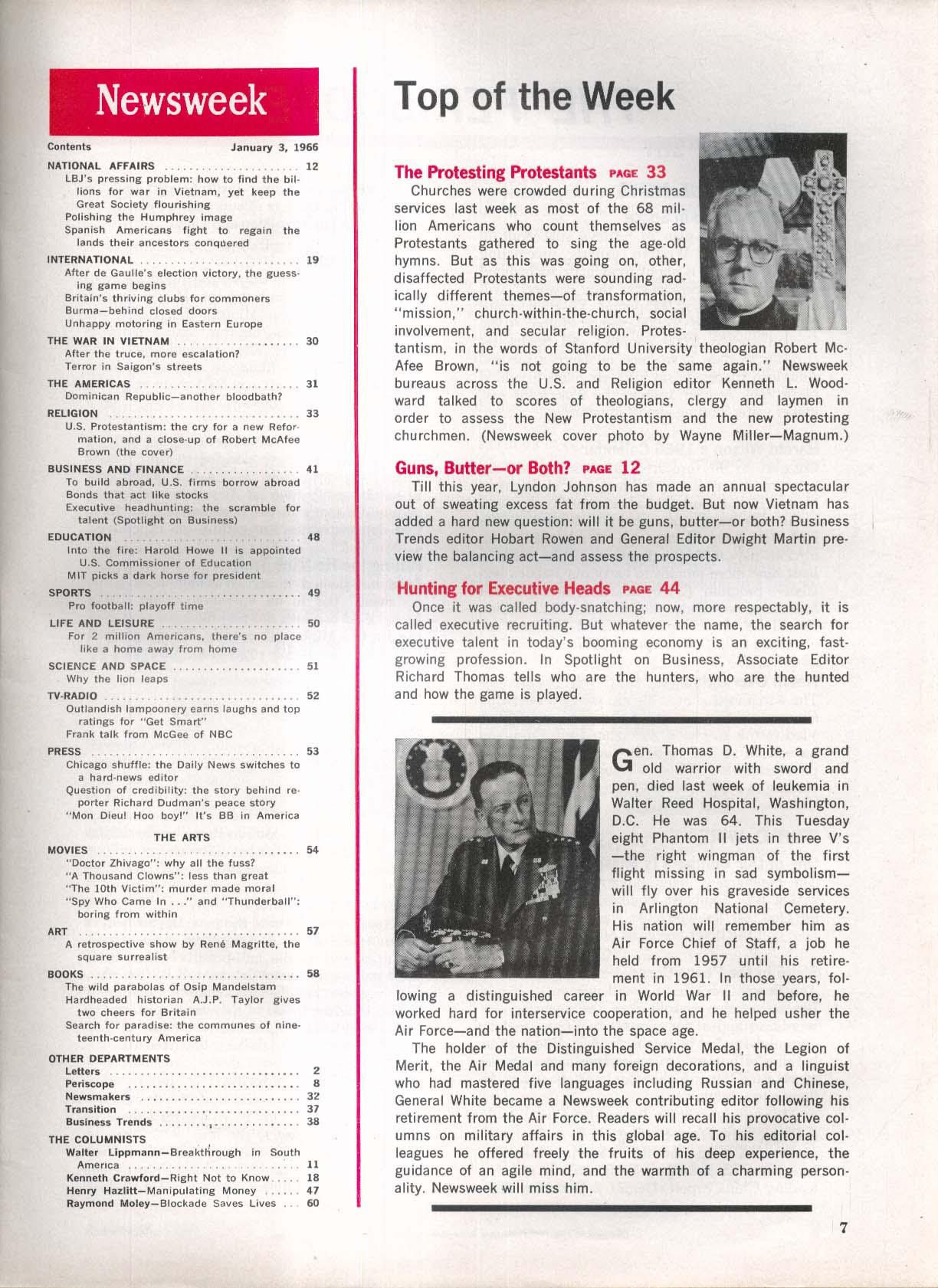 NEWSWEEK Stanford Protestant Robert MacAfee Brown LBJ Vietnam Humphrey 1/3 1966