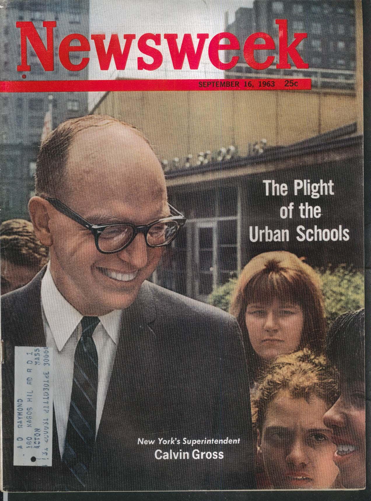 NEWSWEEK New York Superintendent Calvin Gross Vietnam George Wallace 9/16 1963