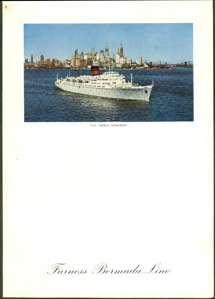 Furness Bermuda Line T S S Ocean Monarch Farewell Dinner Menu 2/7 1957