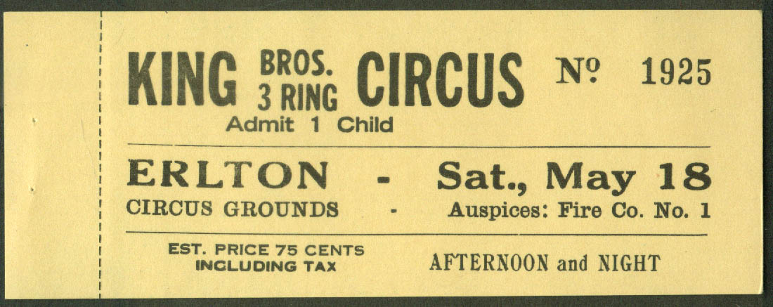 Image for King Bros Circus child's ticket Erlton Grounds NJ ca 1940s 75c