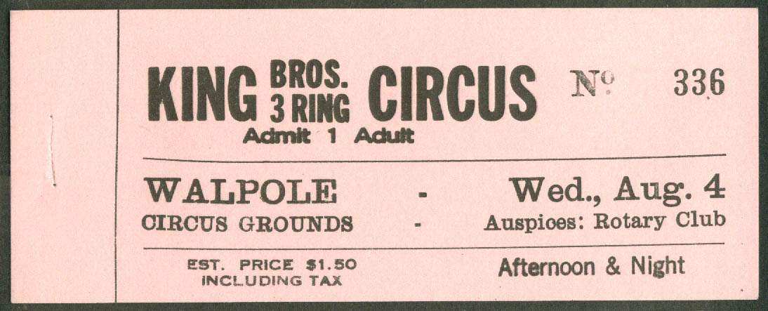 King Bros Circus adult ticket Walpole Grounds MA ca 1940s $1.50
