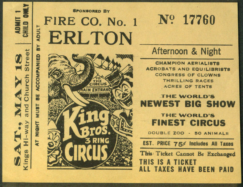 King Bros Circus child's ticket Fire Co #1 Erlton NJ ca 1940s 75c
