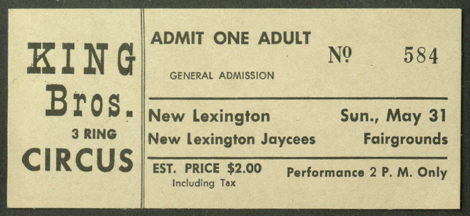 King Bros Circus adult ticket New Lexington Fairgrounds Jaycees $2 ca 1950s