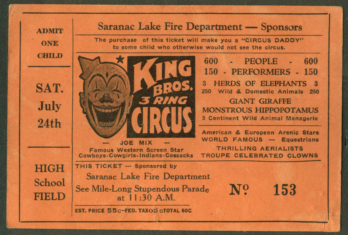 King Bros Circus child's ticket Saranac Lake Fire Dept NY 1954 60c