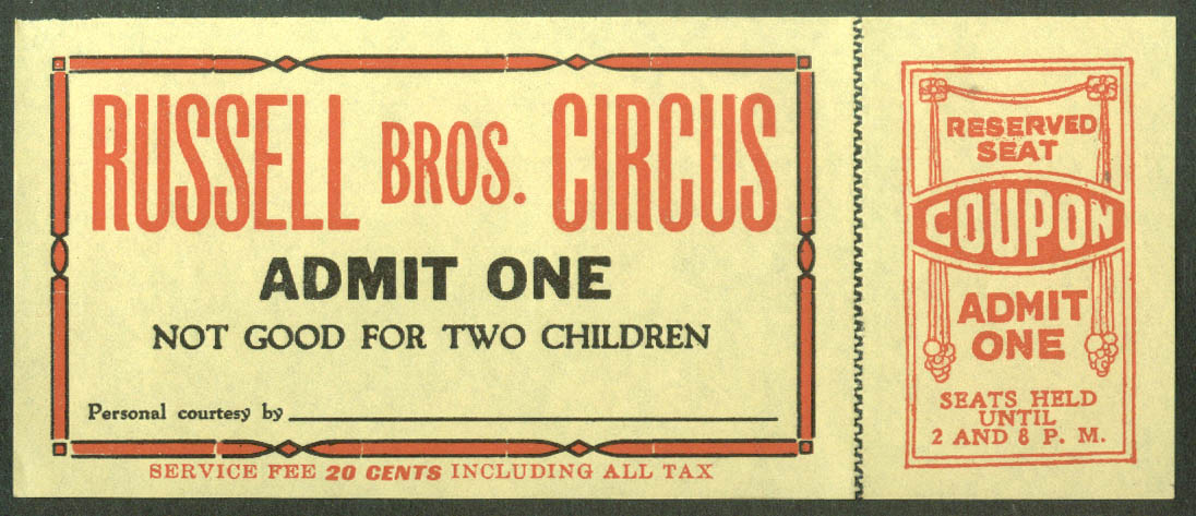 Image for Russell Bros Circus Admit One Reserved Seat ticket ca 1940s