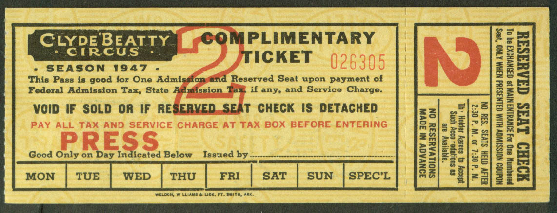Clyde Beatty Circus Complimentary Press Reserved Seat ticket 1947