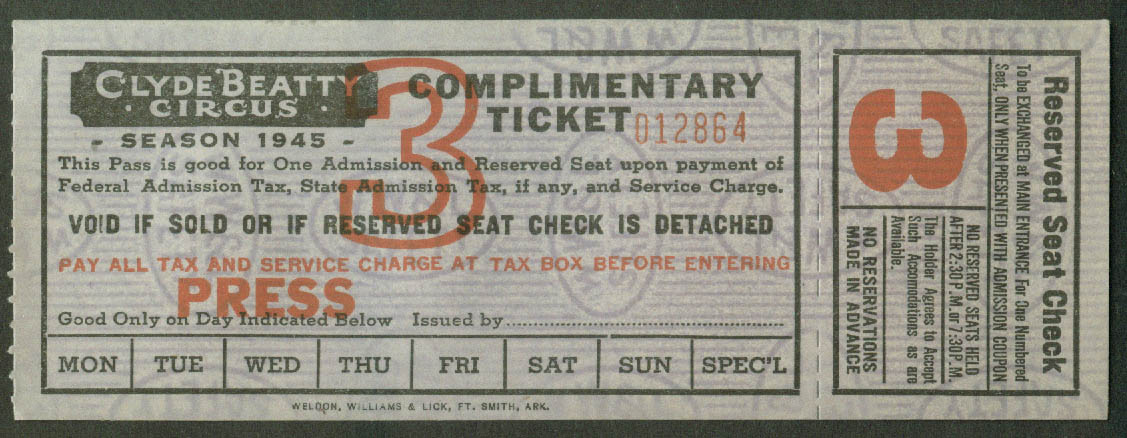 Clyde Beatty Circus Complimentary Press Reserved Seat ticket 1945