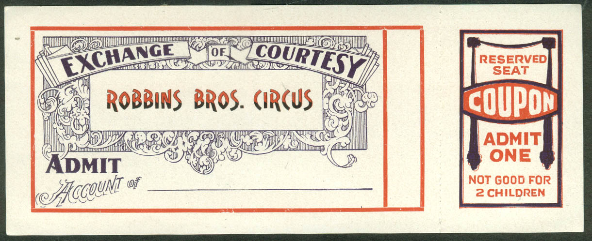 Image for Robbins Bros Circus Exchange of Courtesy Reserved Seat ticket 1924