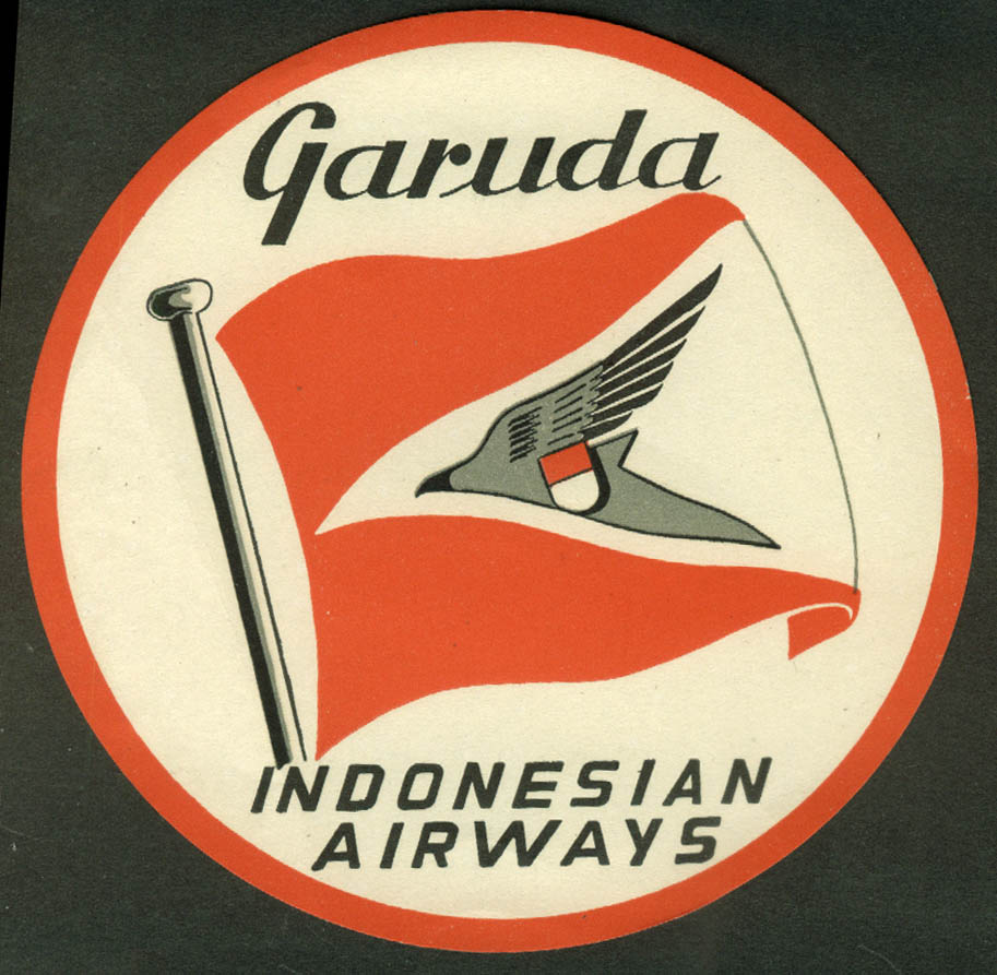 "Garuda Indonesian Airways baggage sticker 1950s unused 4 3/8"" diameter"