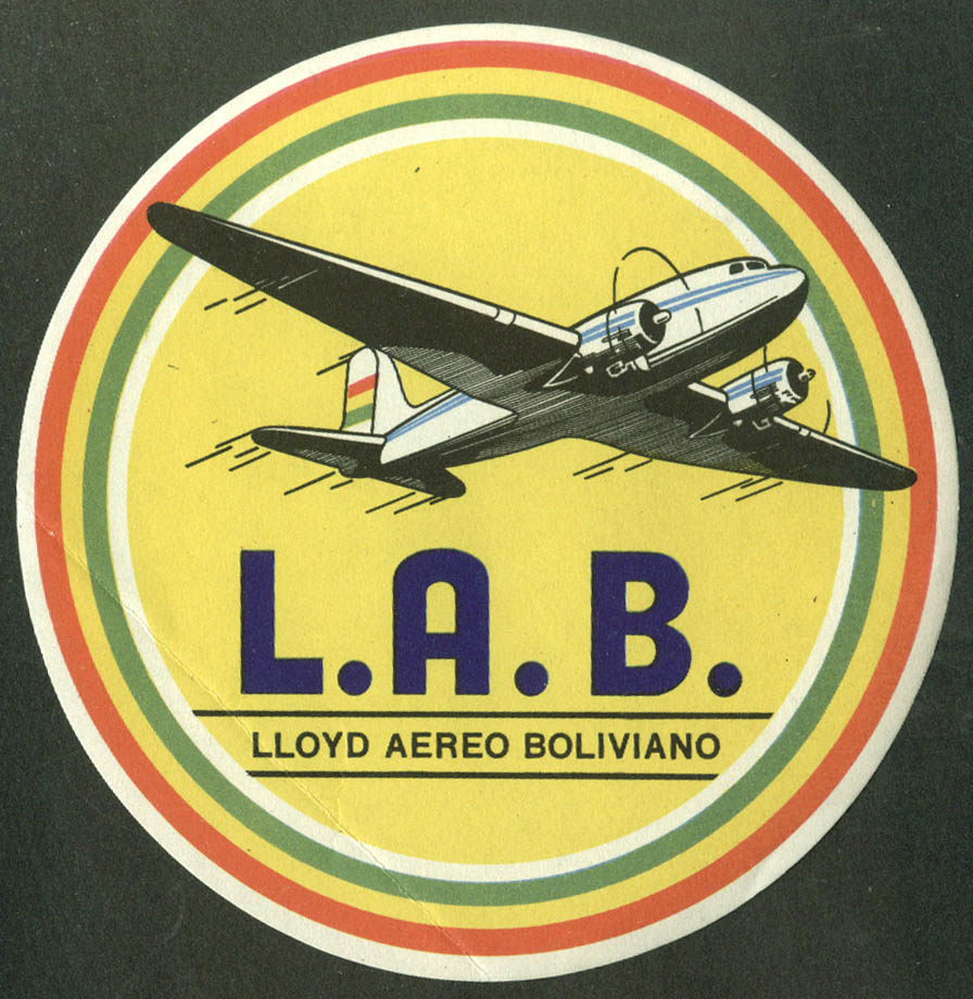 "LAB Lloyd Aereo Boliviano Douglas DC-3 baggage sticker 1950s 4 1/4"" diameter"