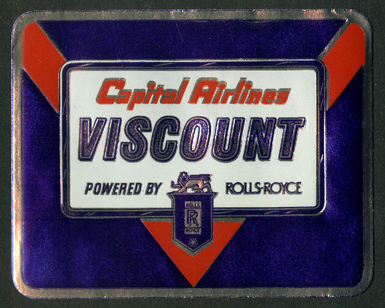 Capital Airlines Viscount powered by Rolls-Royce foil baggage sticker 1950s