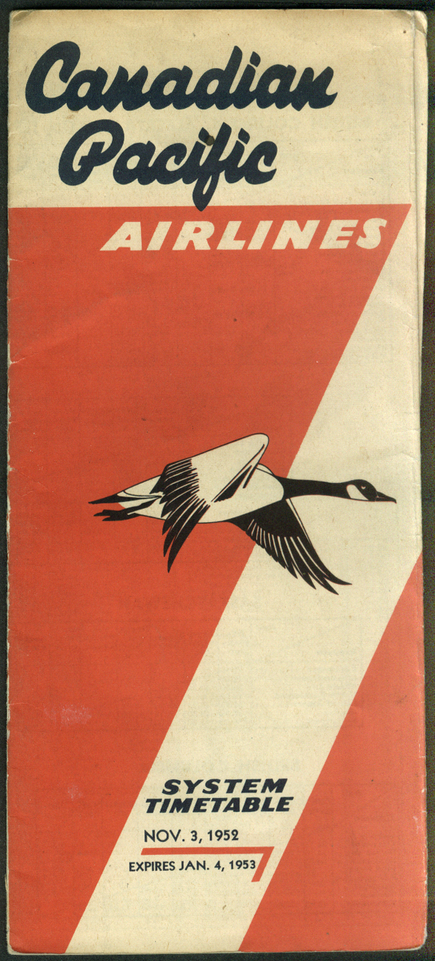Canadian Pacific Airlines System Timetable 11/3 1952 - 1/4 1953