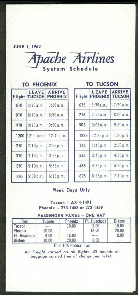Apache Airlines System airline timetable 6/1 1962
