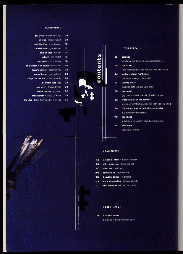 NOT ONLY BLUE Gay male erotica #19 2 1999 Von Gloeden Simon Kerle Sydney +