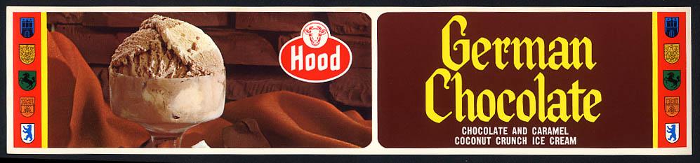 Hood Dairy German Chocolate & Caramel Coconut Crunch Ice Cream sign 1950s