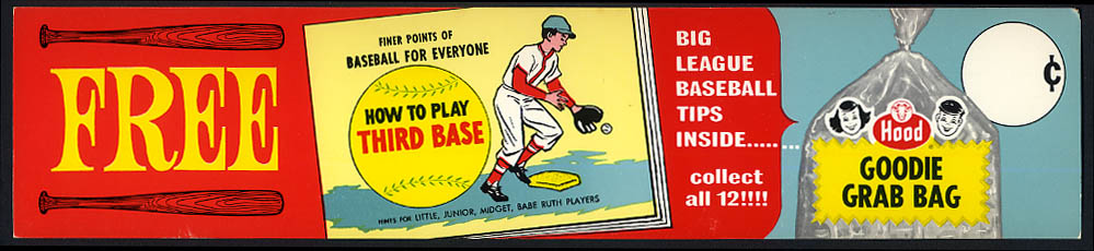 Hood Ice Cream Goodie Grab Bag How to Play 3rd Base Baseball store sign 1950s