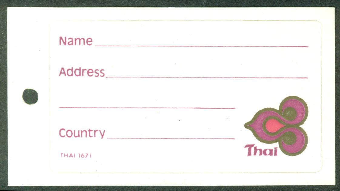 Thai Airways crack-&-peel airline baggage sticker unused 1971