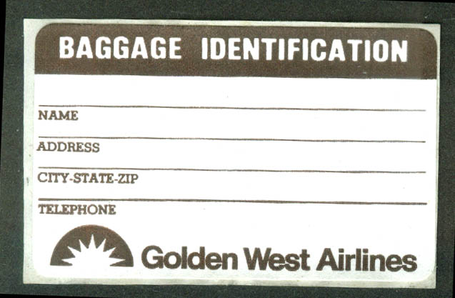 Golden West Airlines crack-&-peel airline baggage sticker unused