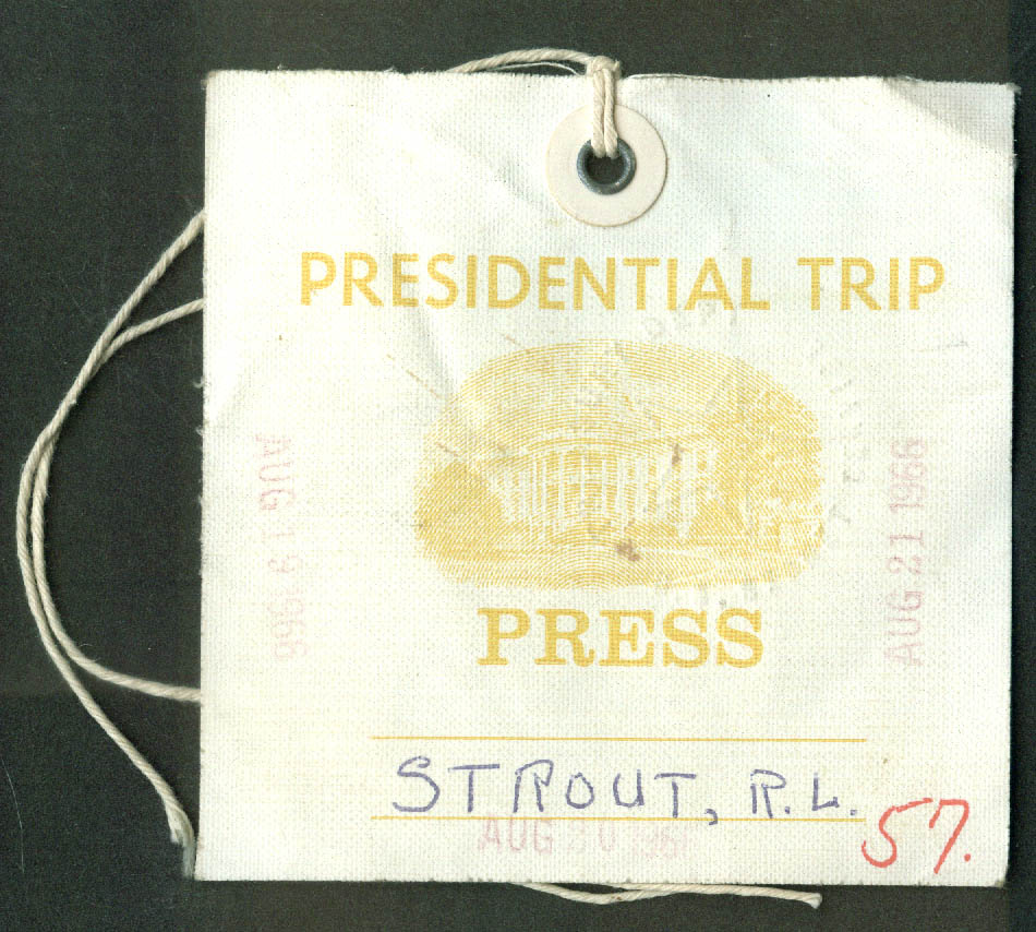LBJ at Ellenville NY Lewiston ME JFK Memorial PM Pearson Canada Press Pass 1966