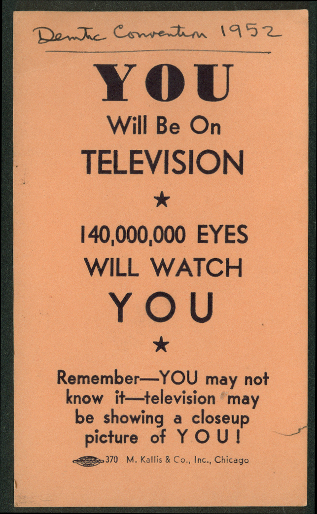 Democratic National Convention YOU Will Be On Television card for Press 1952