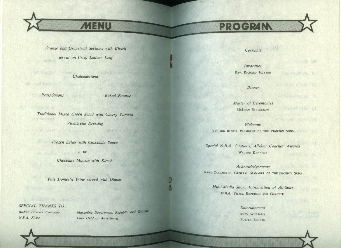 1975 NBA All-Star Game at Phoenix Pre-Game Banquet Menu