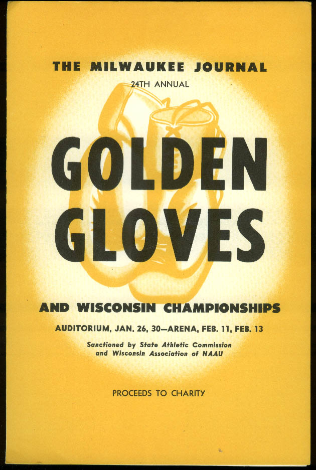 Milwaukee Journal Golden Gloves & Wisconsin Championships Program 1954