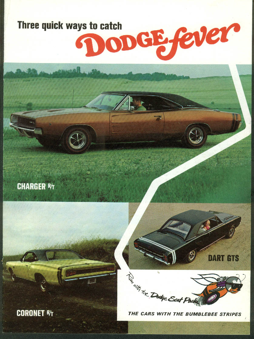 3 Quick Ways to Catch Dodge Fever ad insert Charger R/T Dart GTS Coronet 1968