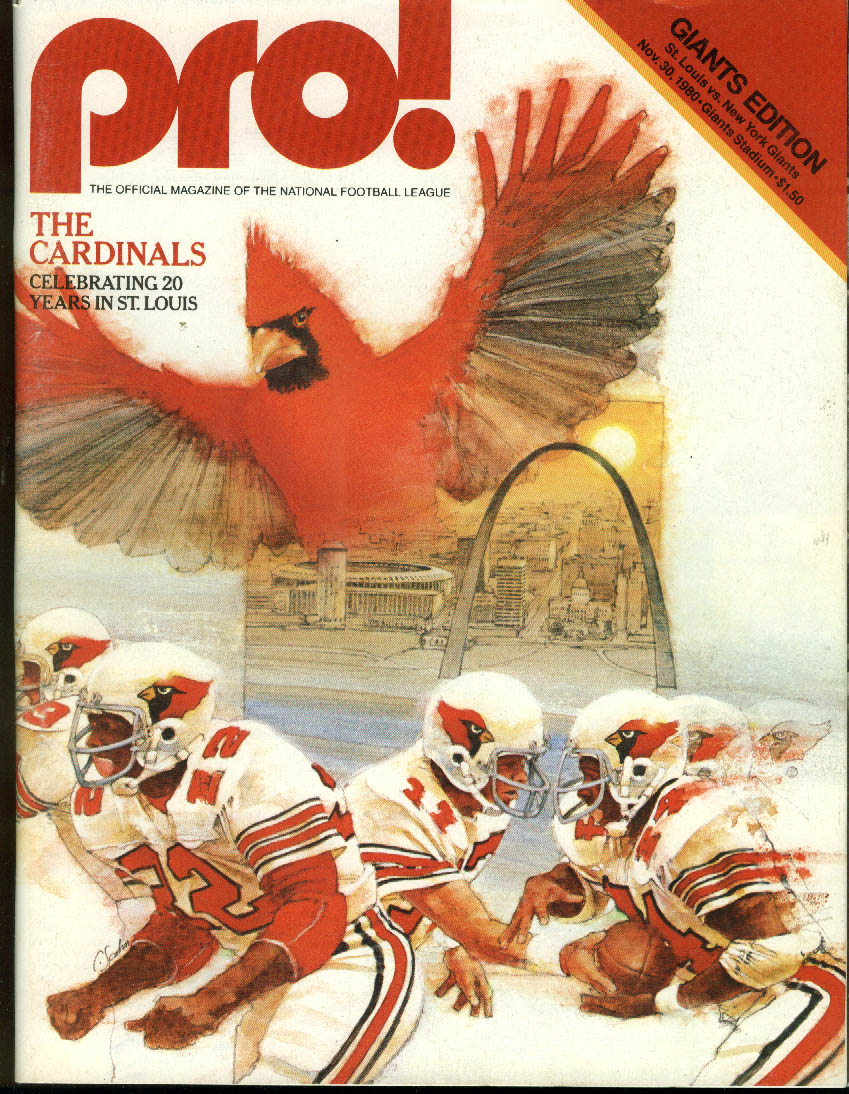 NFL PRO! St Louis Cardinals at New York Giants 11/30 1980