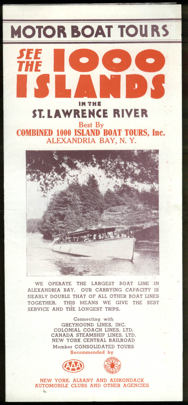 Combined 1000 Island Boat Tours descriptive folder ca 1940s