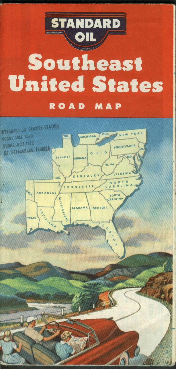 Standard Oil Gasoline Road Map Southeast United States 1954