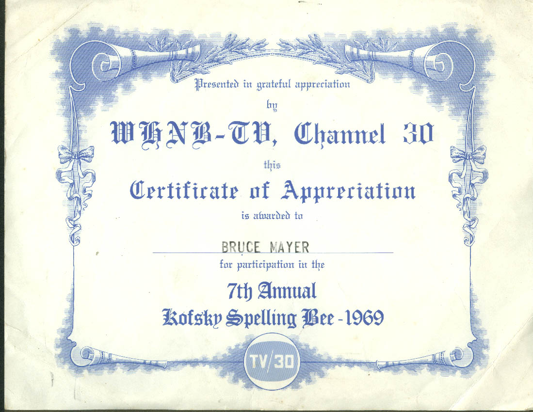 Whnb Tv Channel 30 West Hartford Spelling Bee Certificate Of