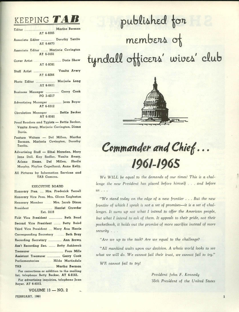 KEEPING TAB V13n12 Tyndall AFB Officers Wives Club: JFK; Gen Terrell