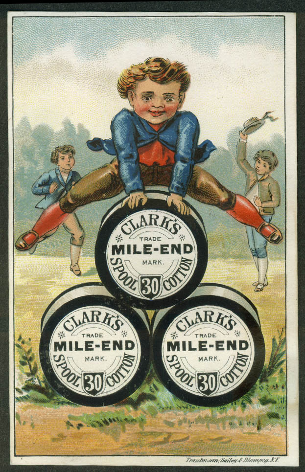 Clark's Mile-End Cotton Thread trade card 1880s boy vaults over spools