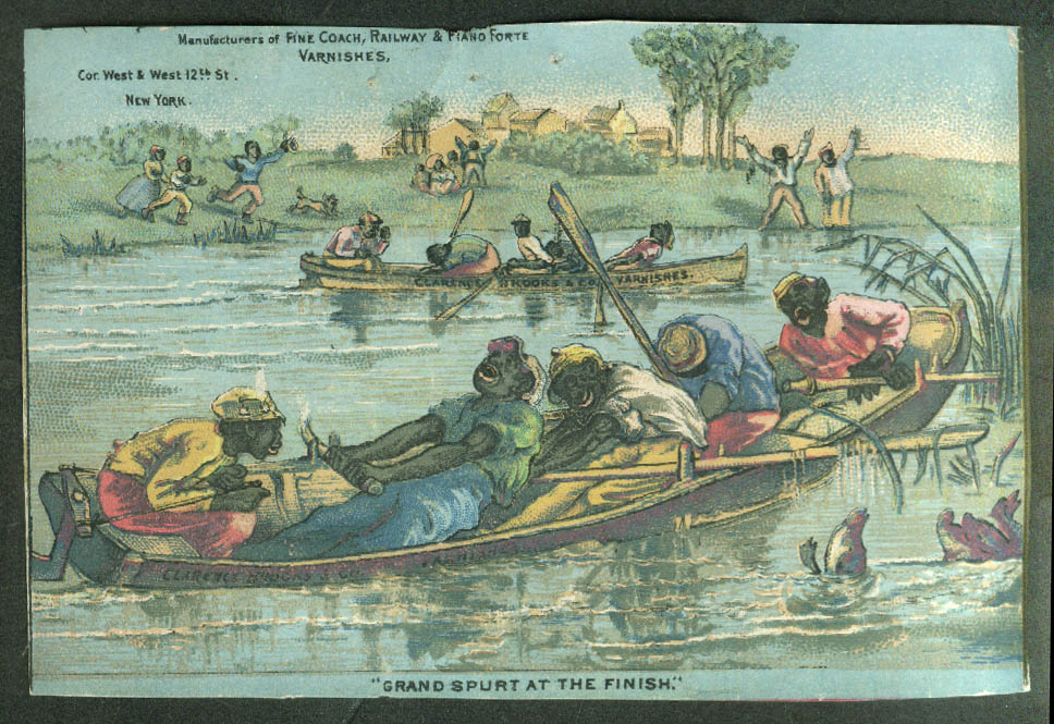 Clarence Brooks Varnishes trade card 1880s Black rowing crew Spurt at the Finish