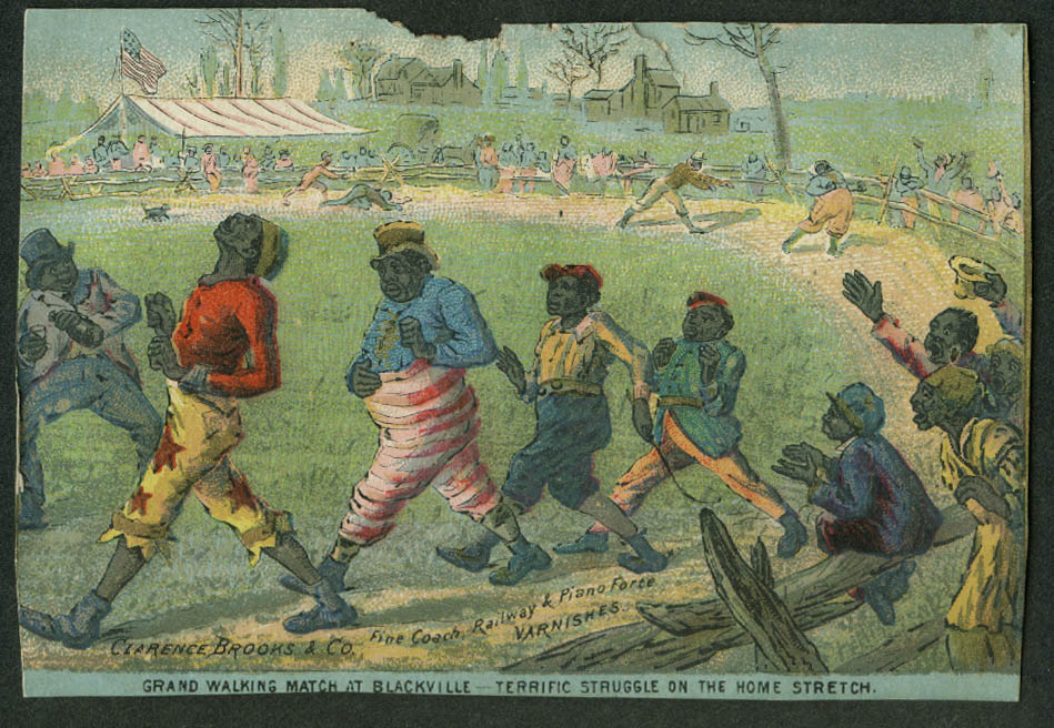 Clarence Brooks Varnishes trade card 1880s Grand Black Walking Match Race