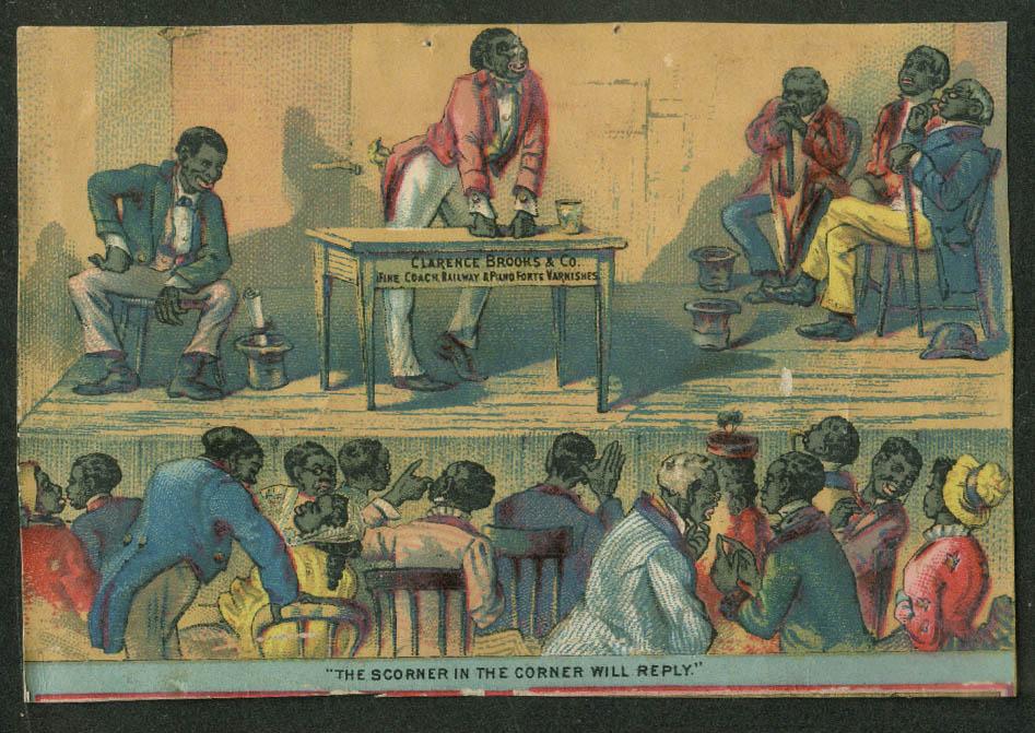 Clarence Brooks Varnishes trade card 1880s Black debating society