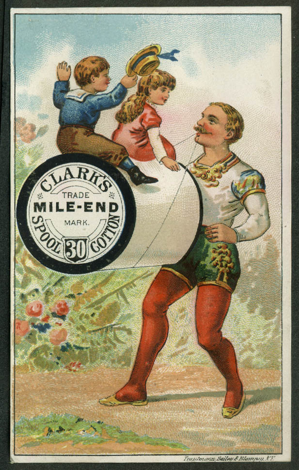Clark's Mile-End Thread trade card 1880s circus strongman carries spool in teeth