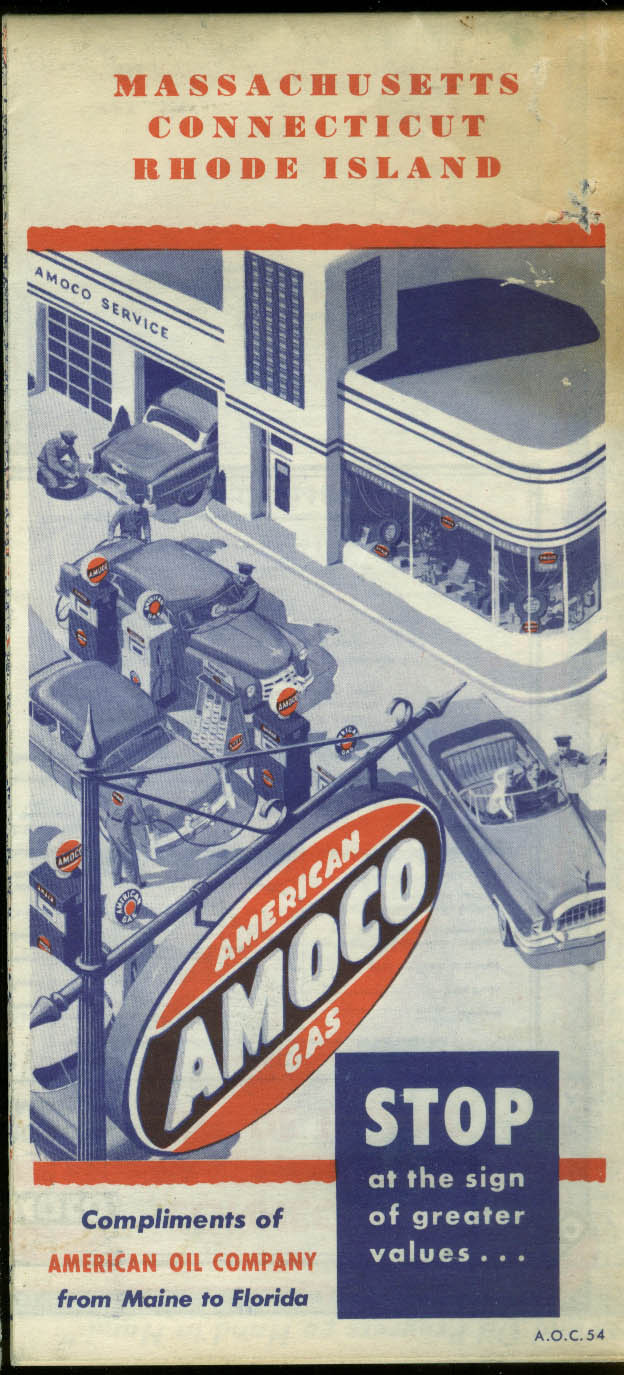 Amoco American Gasoline Road Map Massachusetts Connecticut Rhode Island 1954