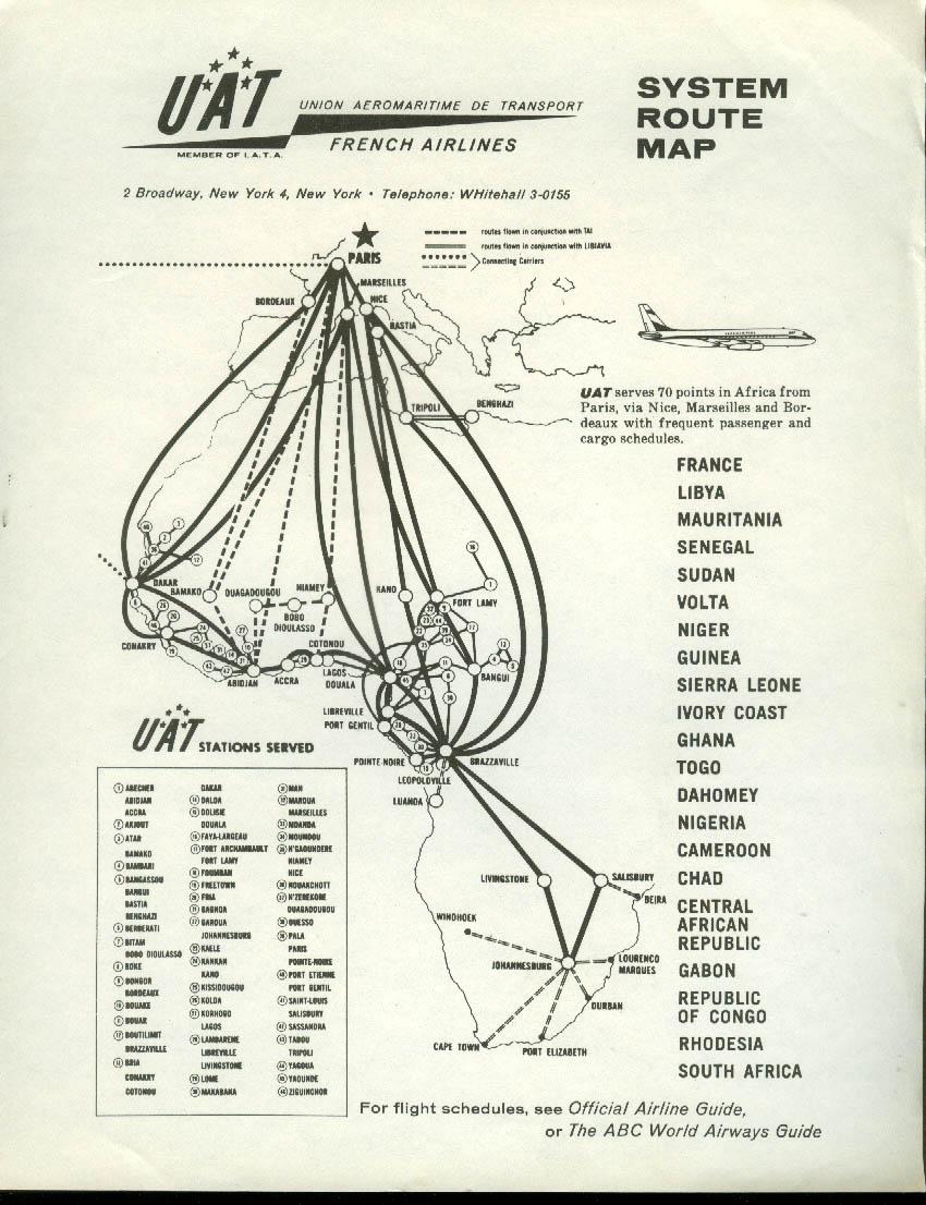 UTA Union de Transports Aériens System Route Map DC-8 airline 1960s