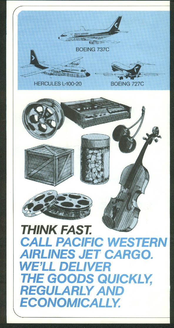 Pacific Western Airlines Let us take a load off airfreight airline folder 1970s